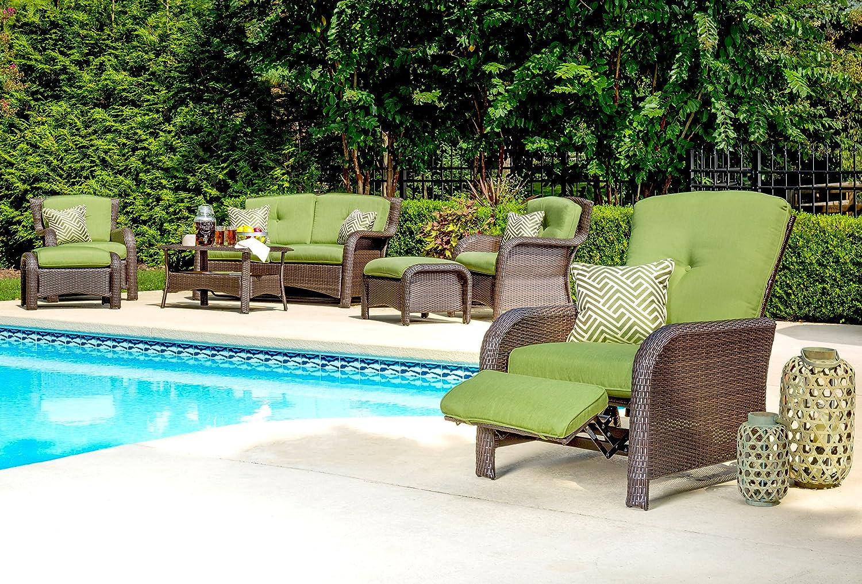 Hanover Strathmere Outdoor Luxury Recliner, Rich Brown Cilantro Green
