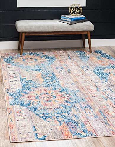Unique Loom Basilica Collection Colorful Traditional Bohemian Vintage Blue Area Rug 8 0 x 10 0