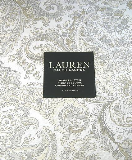 Ralph Lauren Tara Paisley Shower Curtain Gray Taupe On White 72quot X