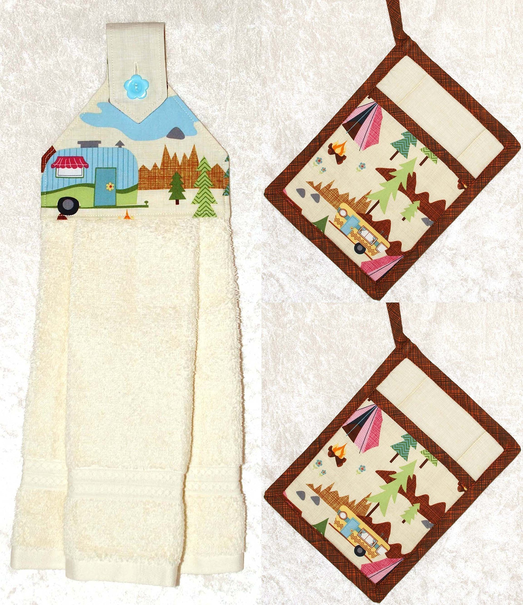 3 Piece Kitchen Set - RV Camping Decor - 1 Hanging Hand Towel - 2 Pocket Potholders - Ivory Plush Towel by Green Acorn Kitchen