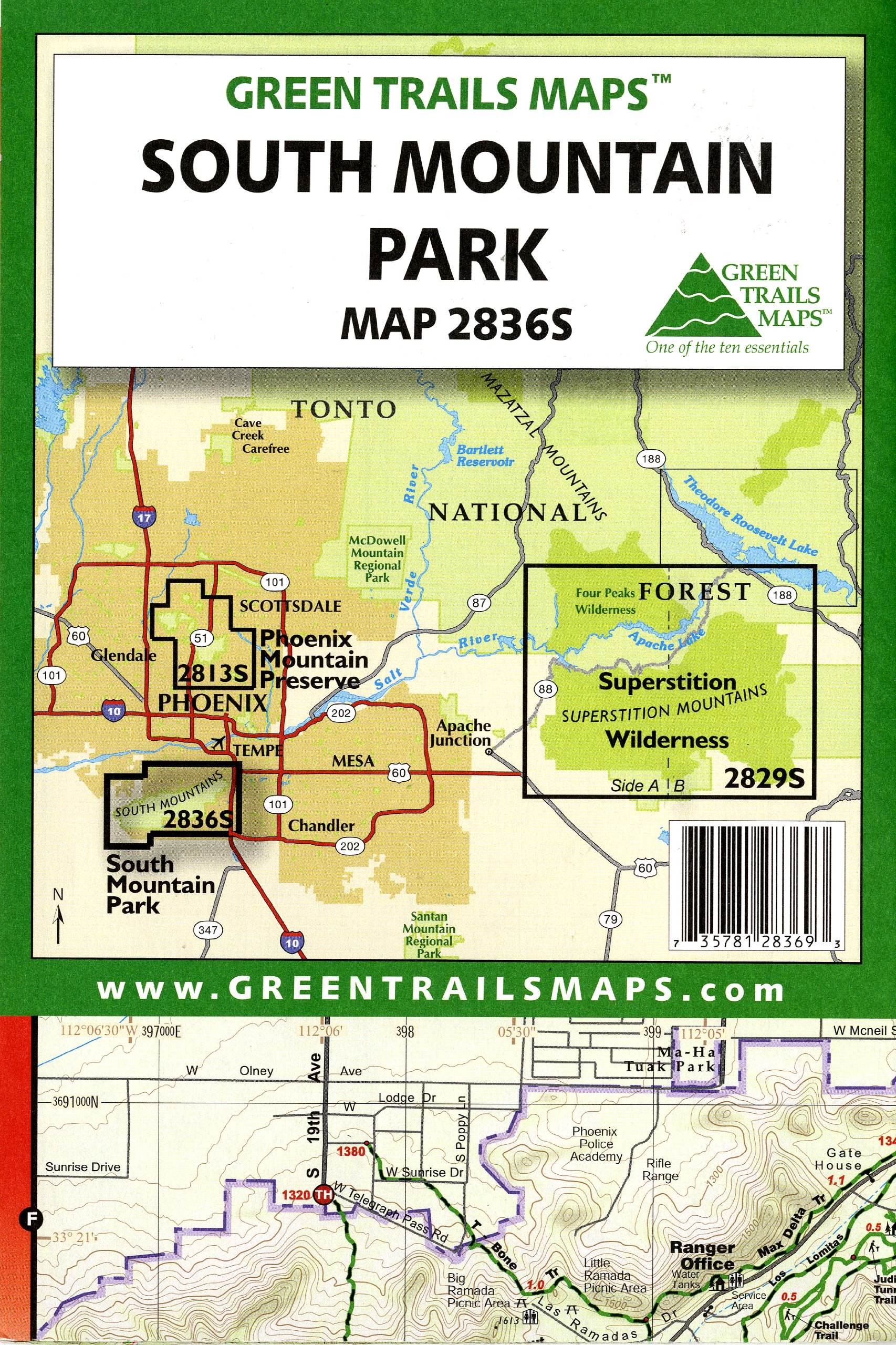 South Mountain Park (Waterproof) (Green Trails Maps, Map 2836S