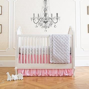summer infant 4 piece classic bedding set with adjustable crib skirt parisian pink
