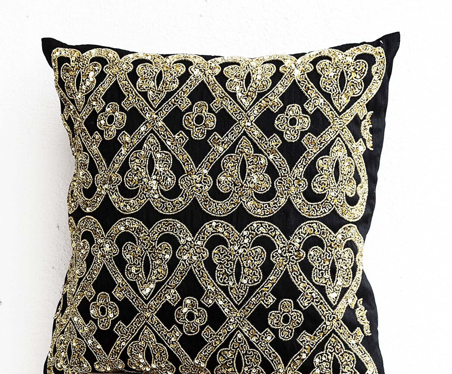 online shop gift il pillow pillows products boarder fullxfull throw cushion gold hasq personalized black with handmade for decorative sequin