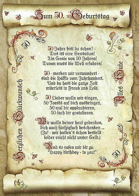 50 Geburtstag Geschenk Urkunde Mit Gedicht