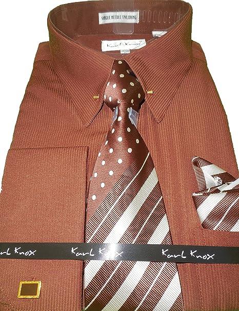 Karl Knox SX4352 Mens Brown Eyelet Collar Bar French Cuff Dress Shirt