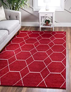 Unique Loom Trellis Frieze Collection Lattice Moroccan Geometric Modern Red Area Rug (8' 0 x 10' 0)