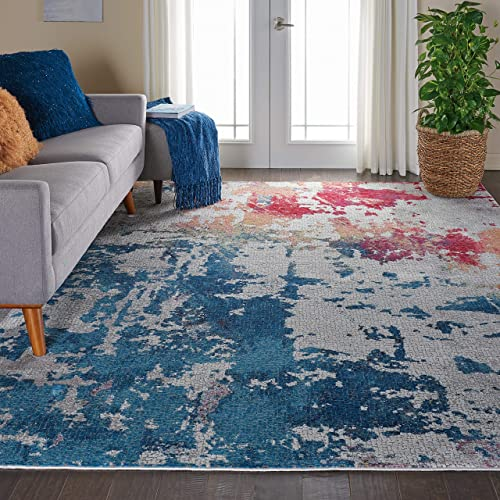 Nourison Global Vintage Contemporary Abstract Multicolor Area Rug 8 10 x 11 10 , 9 x 12