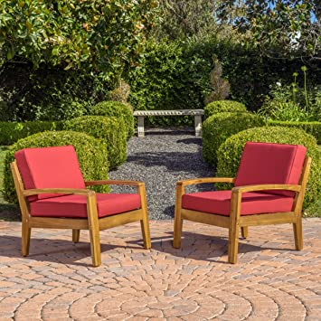 Parma 4 Piece Outdoor Wood Patio Furniture Chat Set W/ Water Resistant  Cushions (Set