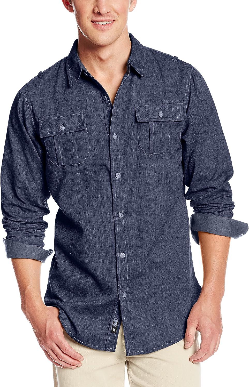 Burnside Men's Locked Long Sleeve Woven Shirt at  Men's Clothing store