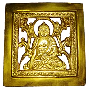 Purpledip Brass Wall Hanging Plaque Gautam Buddha: Dokra Craft Tribal Art Decor Statue (11439)