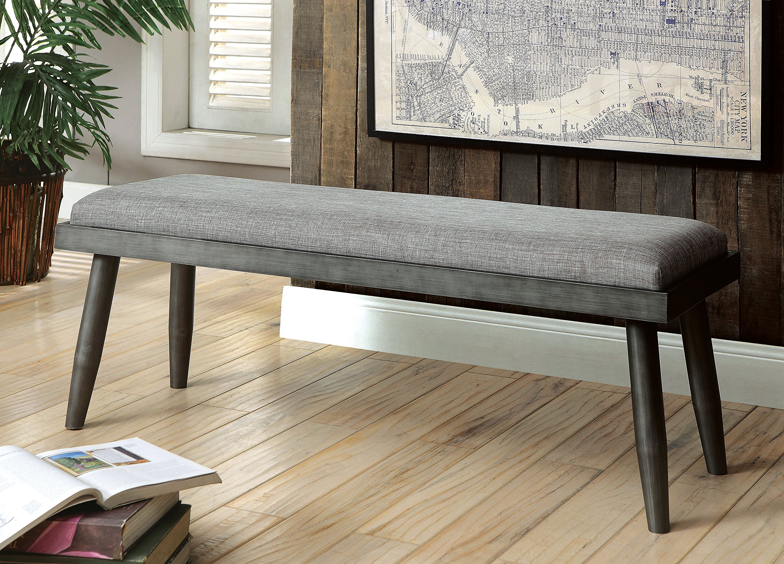 HOMES: Inside + Out IDF-3360BN Gray Lanza Mid-Century Modern Bench by HOMES: Inside + Out (Image #3)