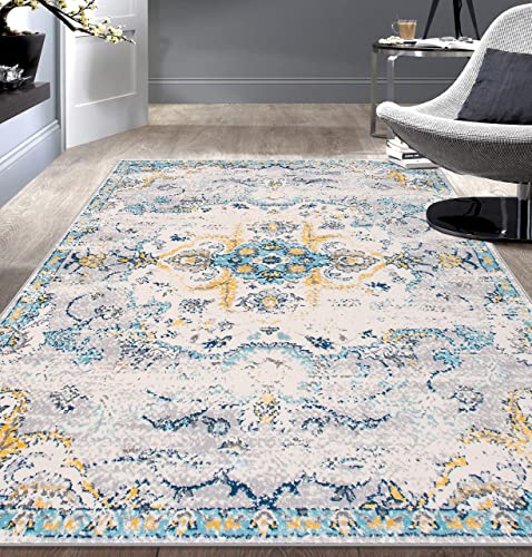 Rugshop Bohemian Distressed Design Area Rug 5' x 7' Blue