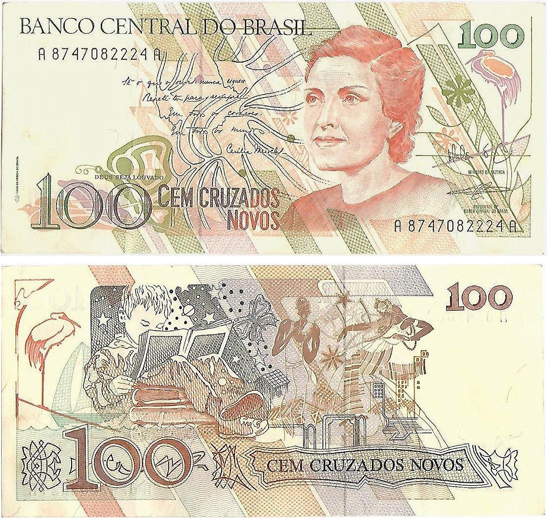 Stampbank La cifra de Billetes de colección - Banco Central de Brasil 100 Cruzado Billete crujiente y sin Circular / Money Papel Genuino: Amazon.es: Juguetes y juegos