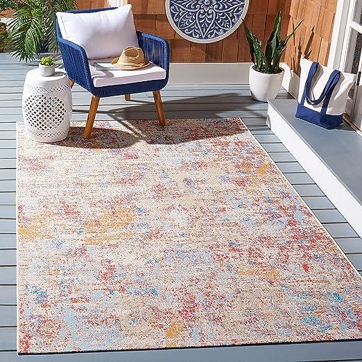 Amazon Com Safavieh Summer Collection Smr451a Indoor Outdoor Area Rug 8 X 10 5 Ivory Light Blue Furniture Decor