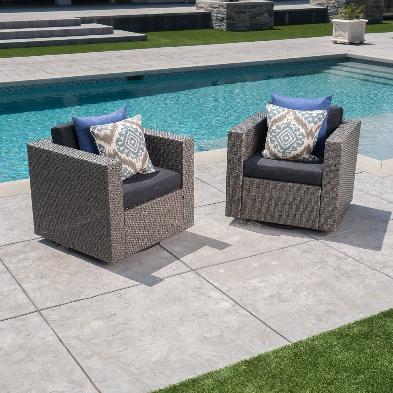 Christopher Knight Home Venice Outdoor Brown Wicker Swivel Club Chair with Beige Water Resistant Cushions Set of 2, Mix Black Dark Grey