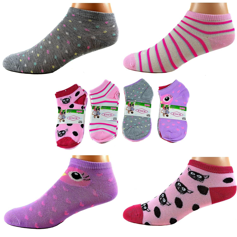 12 Paar Kids Mädchen Socken Kinder Sneaker Ladies Strümpfe 95% Baumwolle Art.C-201 Gr.23-38 + Silikon Armband
