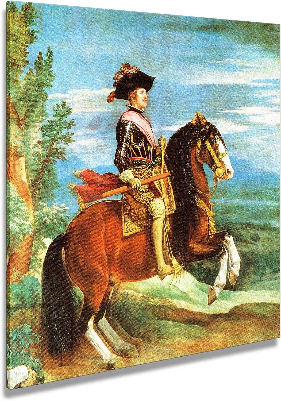 Artenor Cuadro Velázquez Diego Filippo IV a caballo 1635 - Impresión sobre lienzo enmarcado - 98 x 98 cm