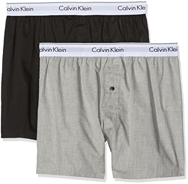 09bfdcea4cf8 Calvin Klein Men's 2 Pack Logo Slim Fit Boxers, Multicoloured at Amazon  Men's Clothing store: