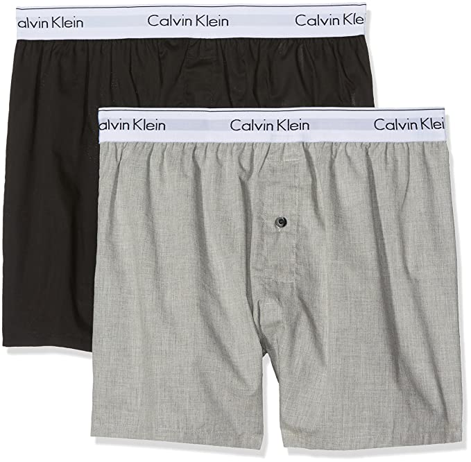 Calvin Klein 2p Slim Fit Boxer, Hombre, (Black/Grey Heather),