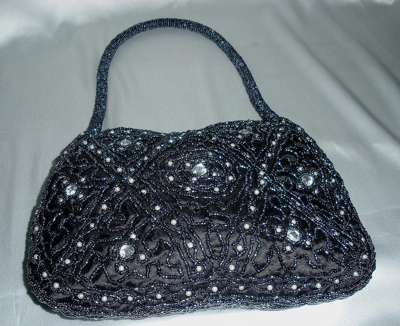 Desconocido indian Zardozi bordado mujer negro perla bolsa (tamaño del embrague) 28 cm/19 cm: Amazon.es: Hogar