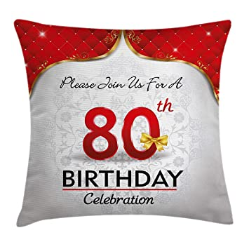 Ambesonne 80th Birthday Throw Pillow Cushion Cover Party Invitation With Abstract Floral Backdrop Elderly
