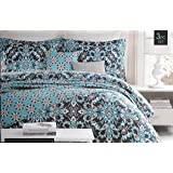 Cynthia Rowley Bedding 3 Piece Full / Queen Duvet Cover Set Floral Medallion Pattern in Shades of Blue and Red on a Darker Blue Background