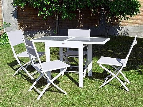 Scaramuzza Modo Tavolo Allungabile Cm 65 130 4 Sedie Pieghevoli In Alluminio Colore Bianco Set Pranzo Salvaspazio Per Esterno Giardino Terrazzo Balcone Amazon It Giardino E Giardinaggio
