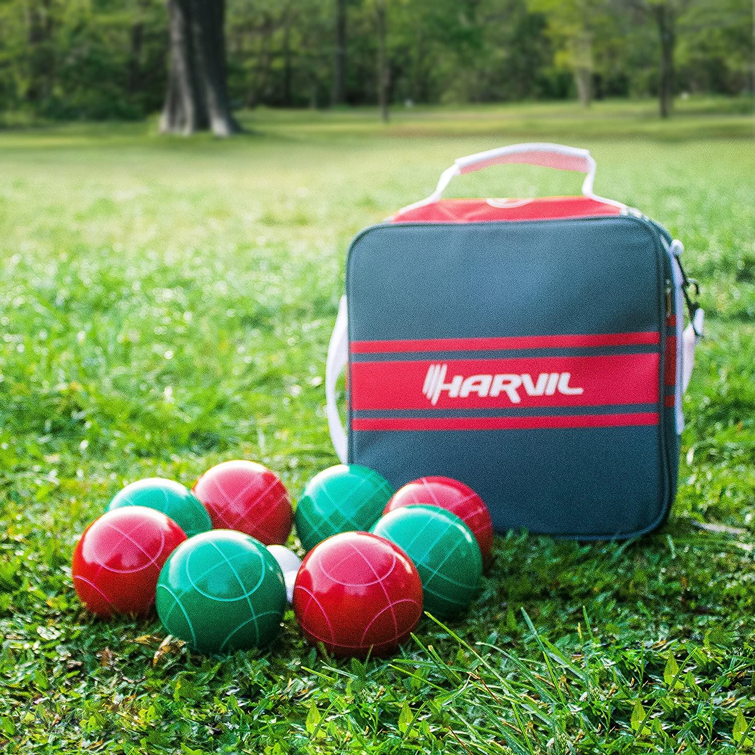amazon com harvil 100mm bocce ball set includes 8 poly resin
