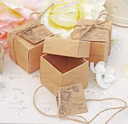 Rustic Vintage Shabby Chic Wedding Favour Boxes With Tags (25 ...