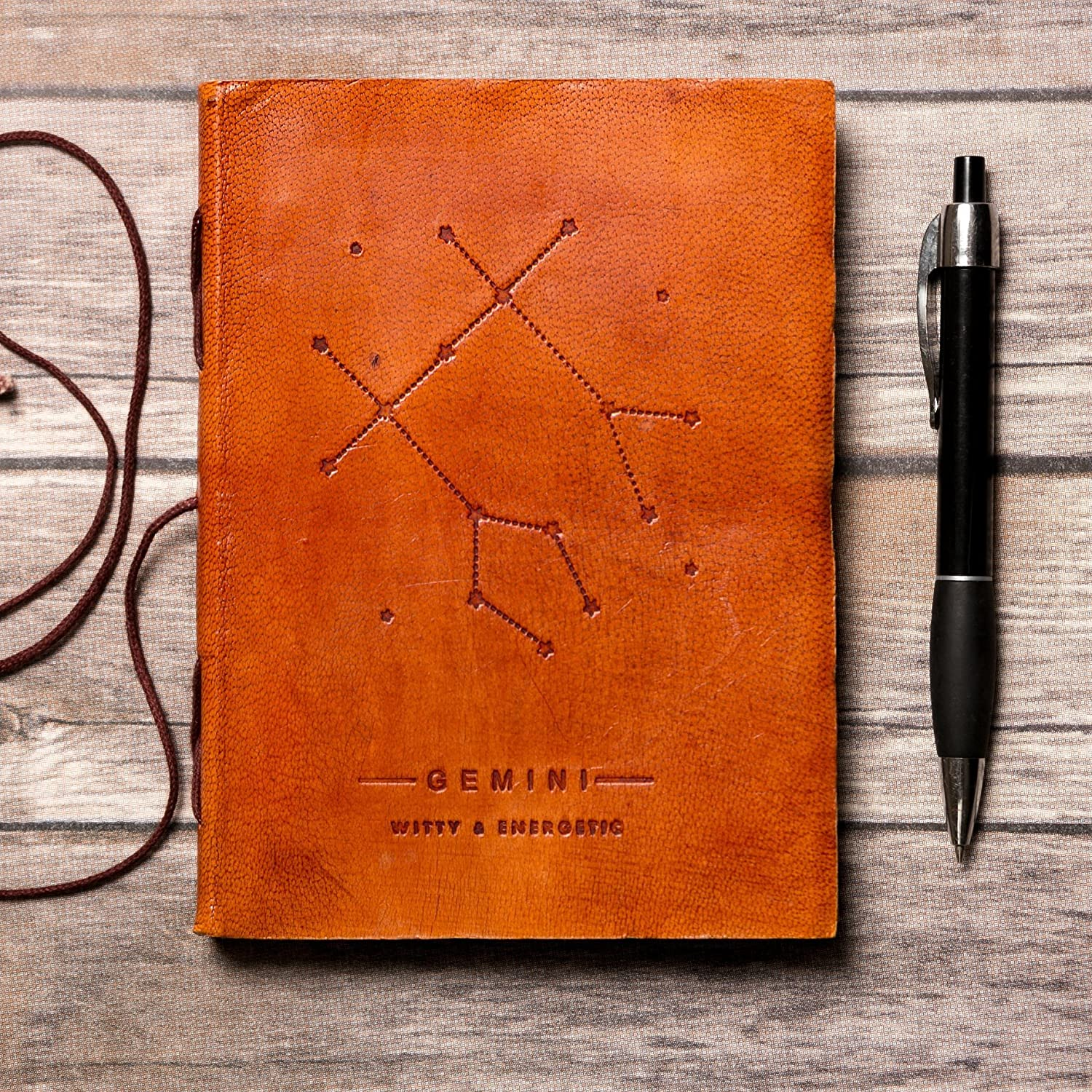 Gemini Leather Journal / Zodiac Handmade Journal / Astrology Journal / Horoscope Journal / Gifts for Him / Travel Journal / Sketchbook / Embossed Genuine Leather Journal / Your Personal Bound Notebook