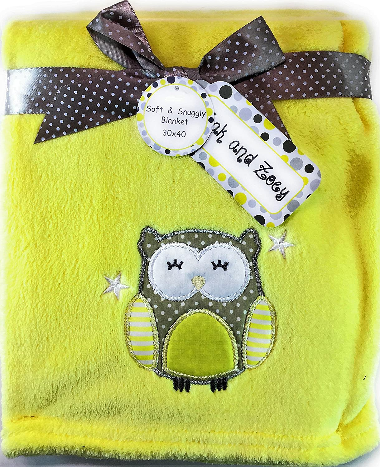 Zak & Zoey Ultra Soft Embossed Plush Baby Blanket (Yellow With Owl) 30' x 40'