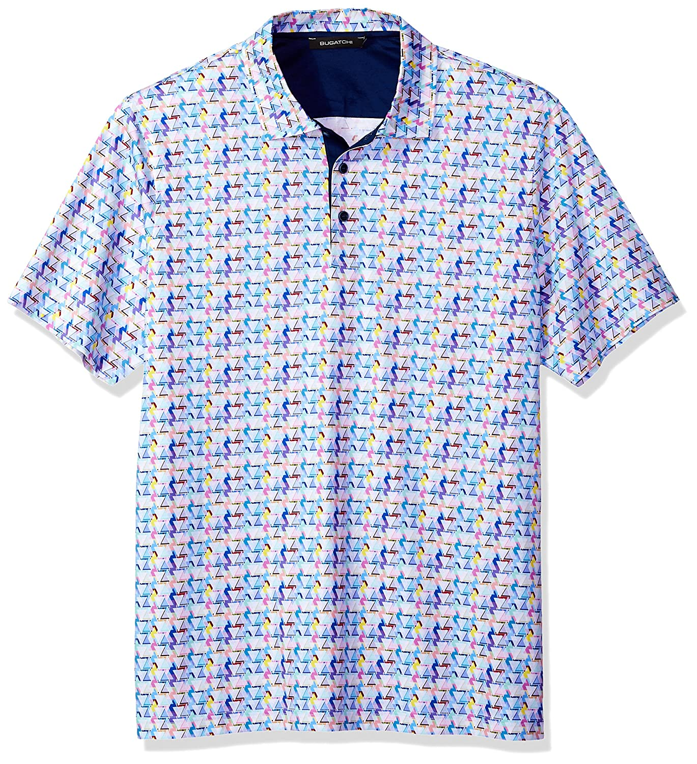 88bb764d5 Bugatchi Men's Modern Trim Fit Candy Triangle Multi Polo Shirt at Amazon  Men's Clothing store: