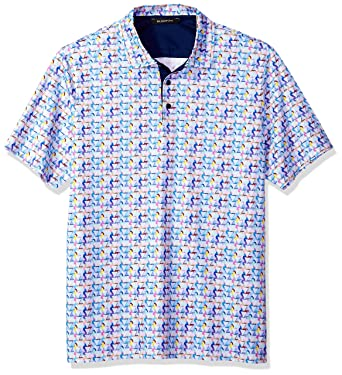 652afa498 Bugatchi Men's Modern Trim Fit Candy Triangle Multi Polo Shirt at ...