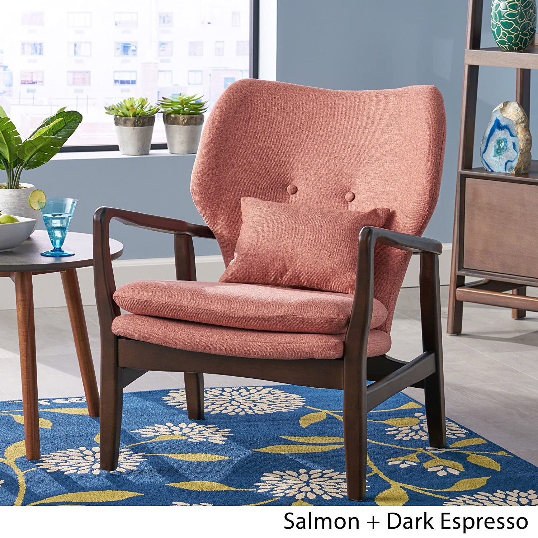 Amazon com great deal furniture ventura mid century modern fabric club chair salmon kitchen dining
