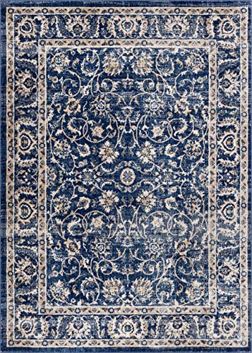 Well Woven Essex Blue Beige Vintage Traditional Persian Oriental Sarouk 20×31 20 x 31 Mat Area Rug Neutral Modern Shabby Chic Thick Soft Plush Shed Free
