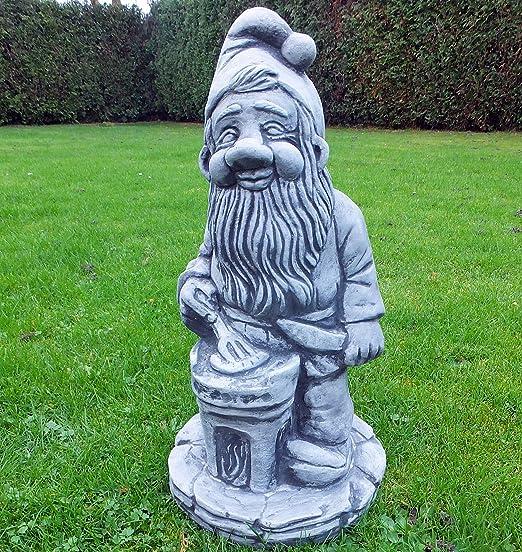 piedra Figura Gnomo Troll gnomo Enano Figura Figura de piedra Jardín heladas piedra fundido jardín Figura Altura 48 cm: Amazon.es: Jardín