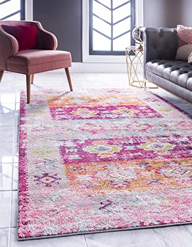 Unique Loom Monterey Collection Tribal Bohemian Bright Colors Vintage Pink Area Rug 10 6 x 16 5