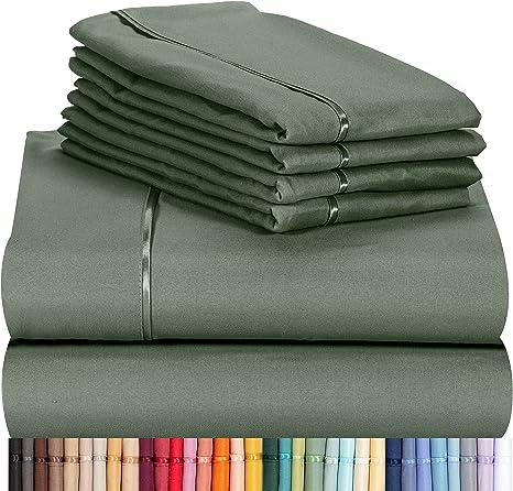 LuxClub 6 PC Set Bamboo Sheets Hotel Bedding Soft Wrinkle Free KING Light Grey