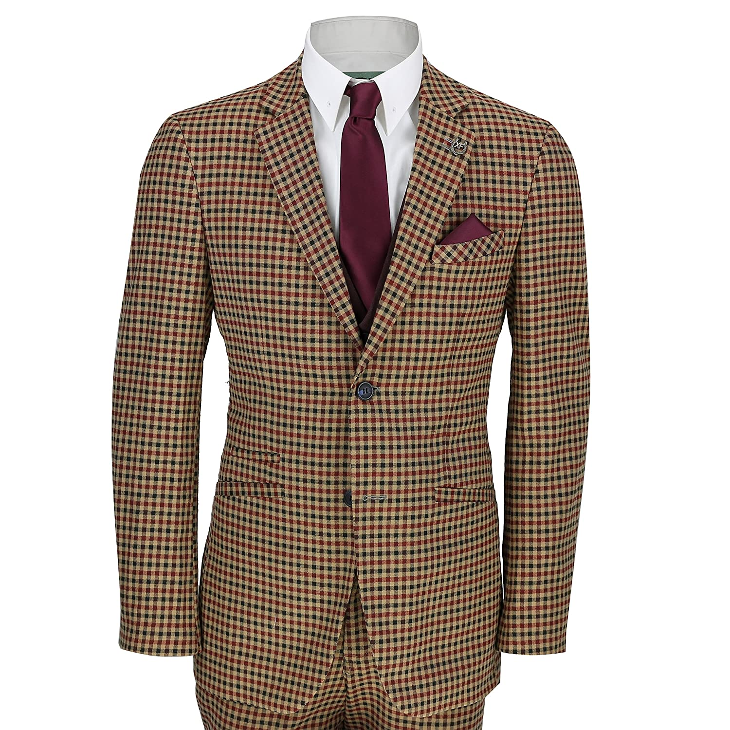 1920s Men's Suits History Xposed Mens Vintage 3 Piece Plaid Tartan Check Slim Tailored Fit Suit Jacket Waistcoat Trouser £104.99 AT vintagedancer.com