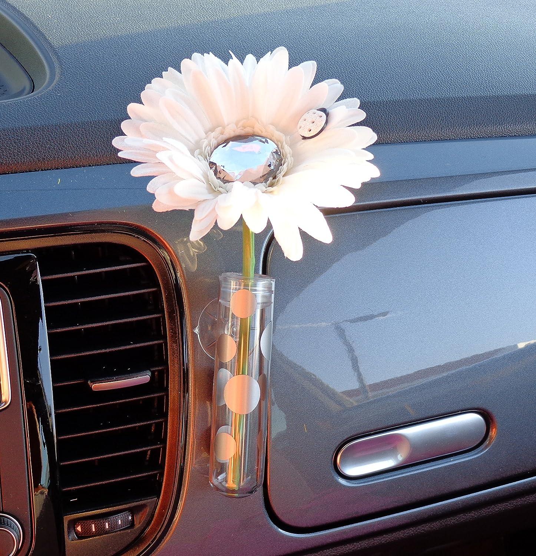 Pink VW New Beetle Flower Vase Holder for the Dashboard Gerbera Daisy