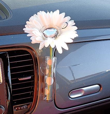 Blanc et Diamant Bling Daisy avec vase universel Vase de voiture