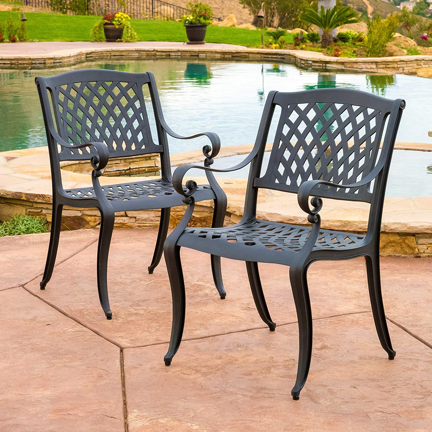 Christopher Knight Home Marietta Outdoor Cast Aluminum Dining Chairs Set of 2