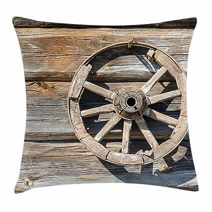 Granero madera rueda de carro manta almohada Funda de cojín por Ambesonne, Log antiguo pared con ...