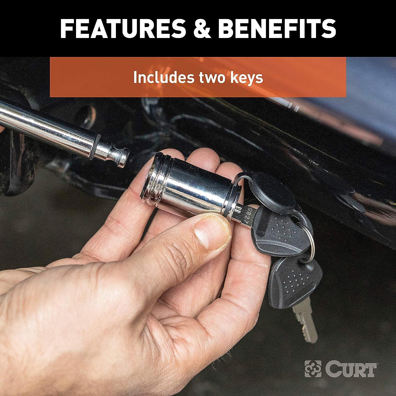 CURT 23501 Trailer Hitch Lock 1//2-Inch Pin Diameter Fits 1-1//4-Inch Receiver