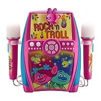 ekids TR-615 Trolls Karaoke Anlage für Kinder mit Mikrofonen Maschine Rosa/Blau/weiß