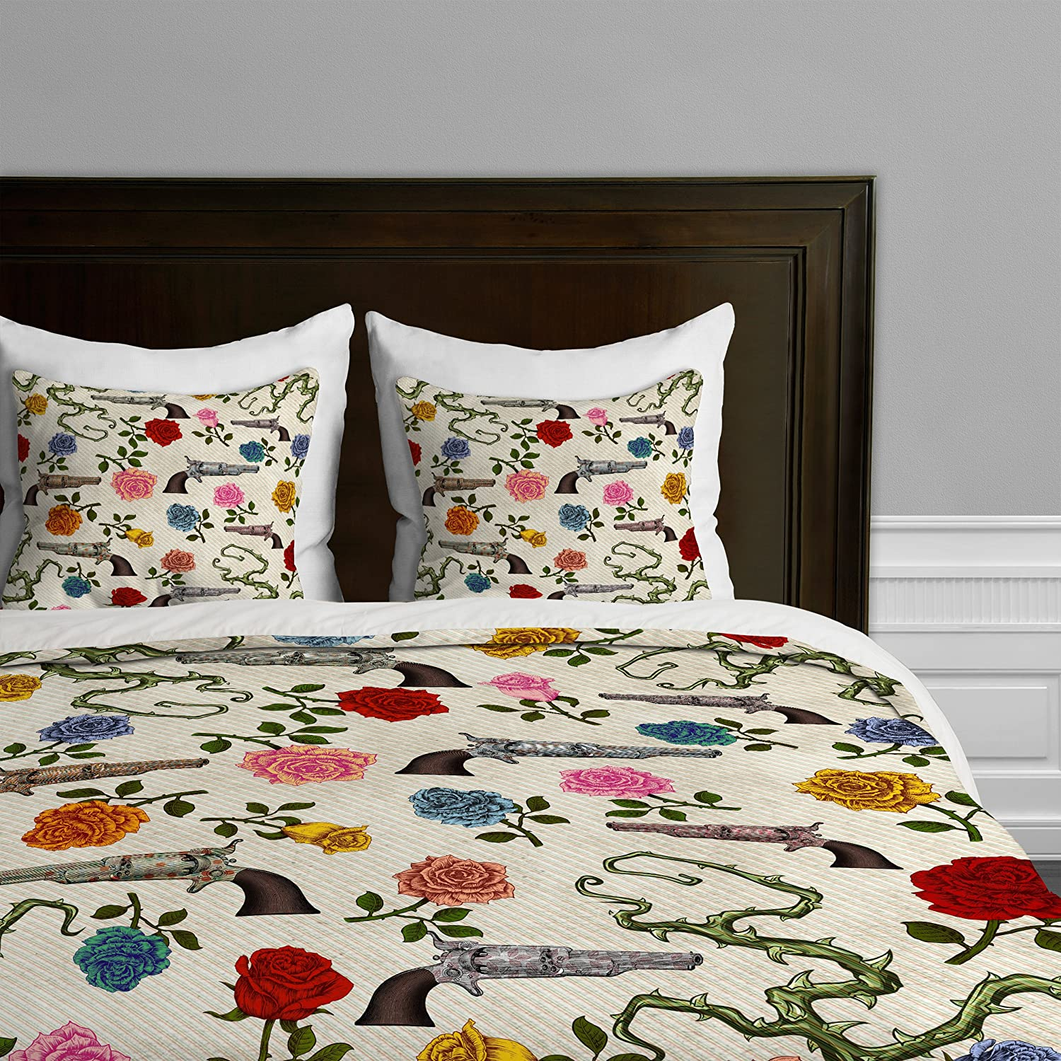 Amazon belle13 sweet guns and roses duvet cover home kitchen gumiabroncs Choice Image