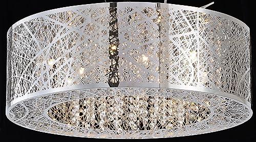 Deluxe Lamp 8 Light Bird Nest Flush Mount Round Crystal Shade Dia 20