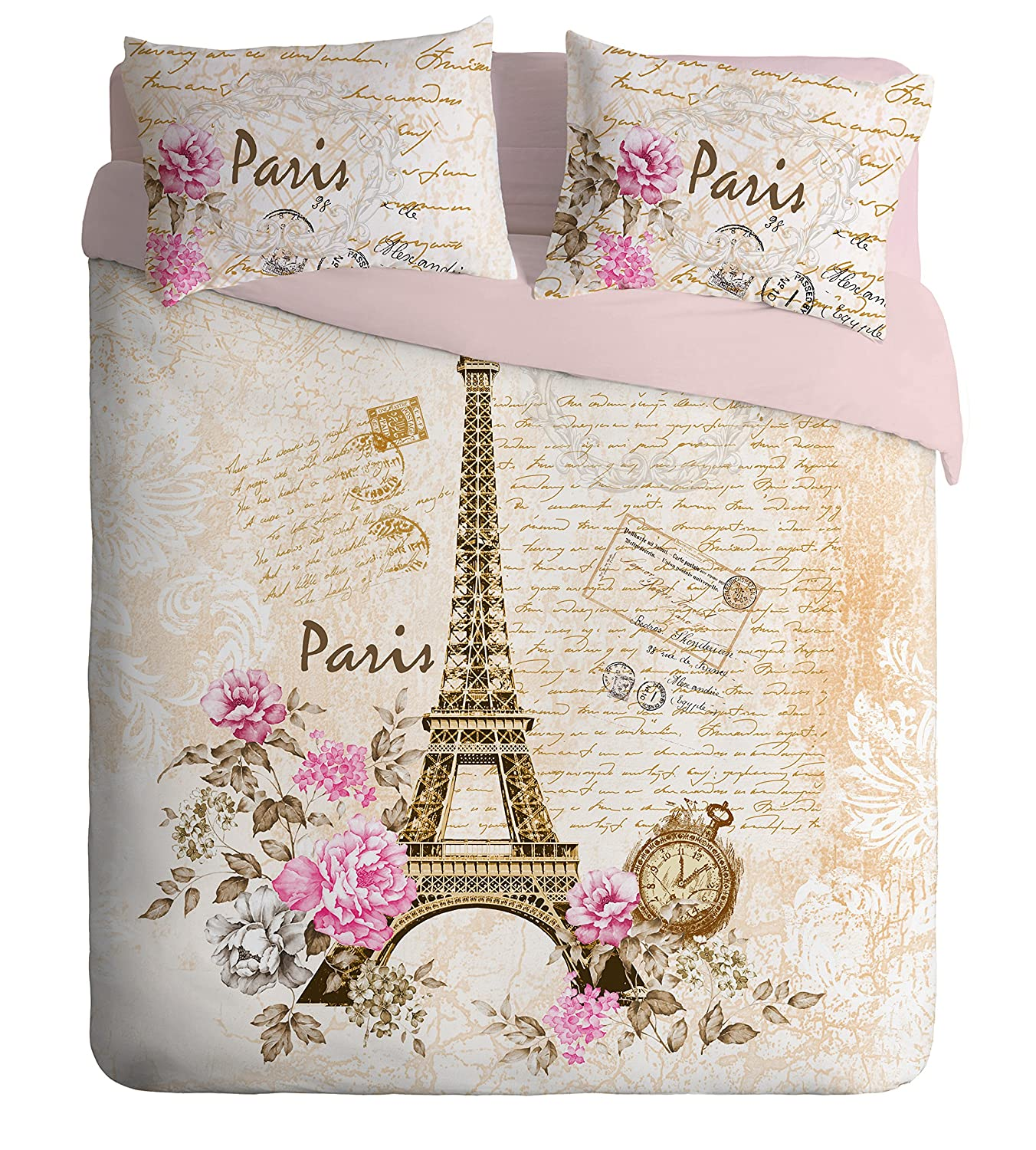 100% Turkish Cotton 4 Pcs!! Ranforce Paris Eiffel Tower Theme Themed Full Double Queen Size Quilt Duvet Cover Set Bedding Made in Turkey