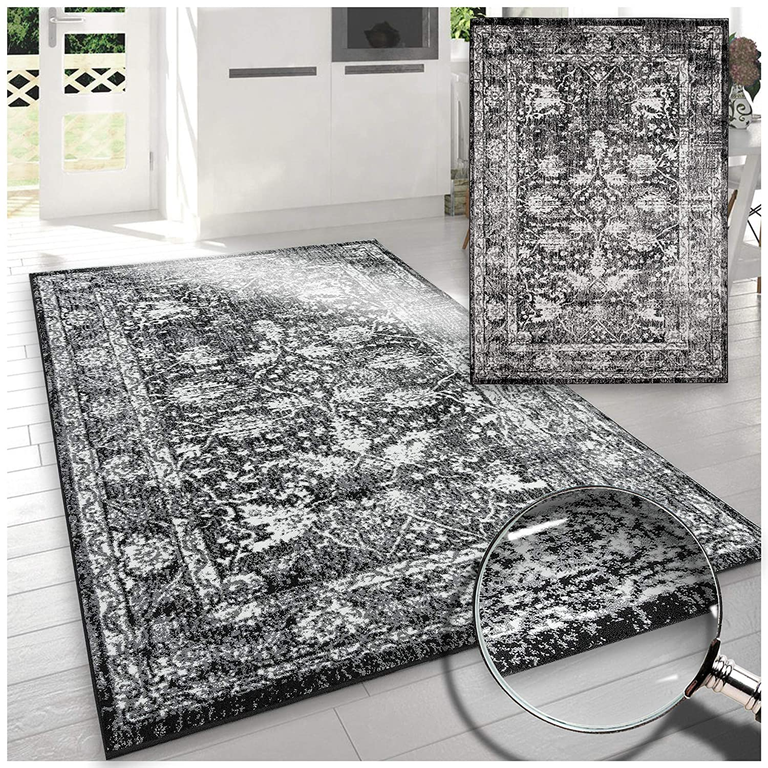 A2Z Large Grey Mix Modern Rugs Vintage Fading Patterns Design Home Decor Runners