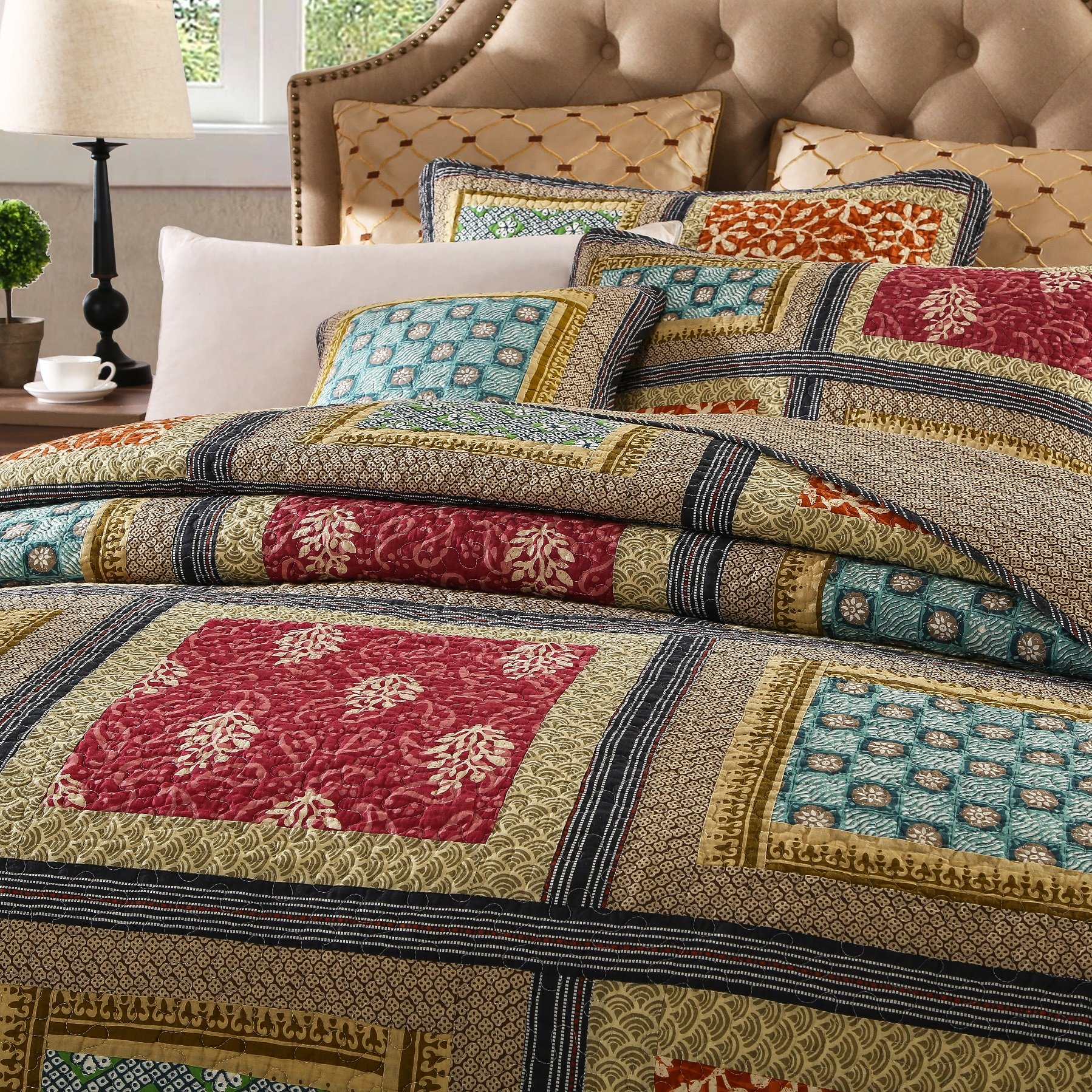 Dada Bedding Collection Reversible Bohemian Real Patchwork Gallery of Roses Cotton Quilt Bedspread Set, Multi-Colored, Cal King, 3-Pieces by DaDa Bedding Collection (Image #2)